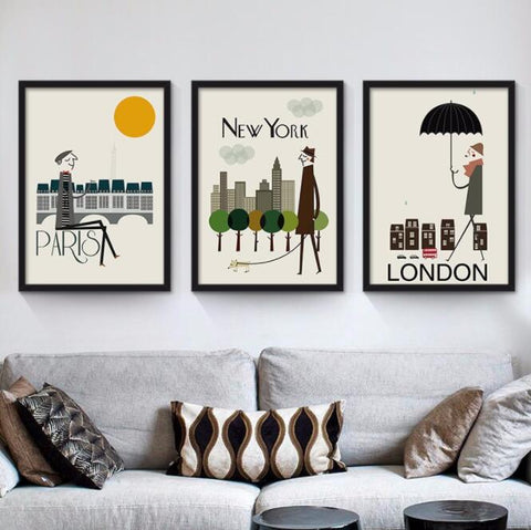 London, New York, Paris, Classic Canvas - fenston-white