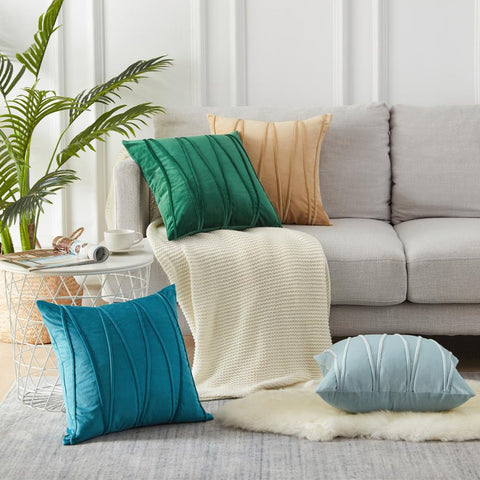 Velvet Striped Cushion Covers - fenston-white