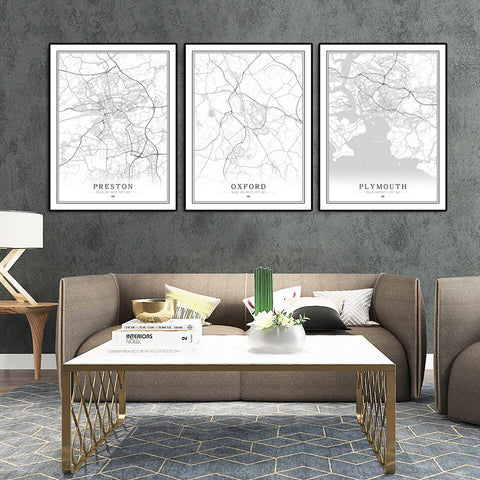 British Cities Canvas Map - fenston-white