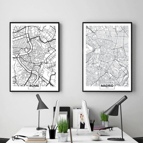 Nordic Map Canvas - fenston-white