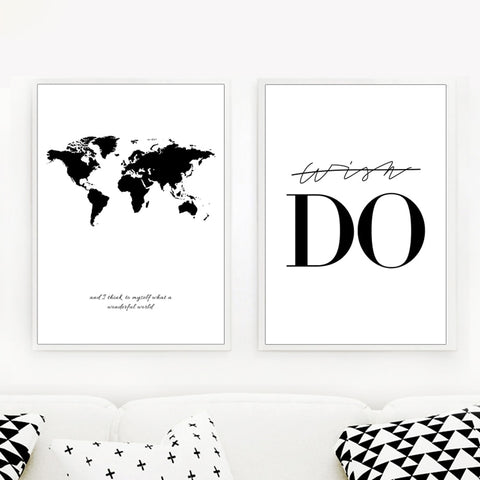 World Map Motivation Canvas - fenston-white