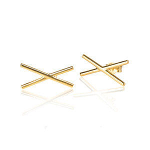 X Plain Gold Earrings
