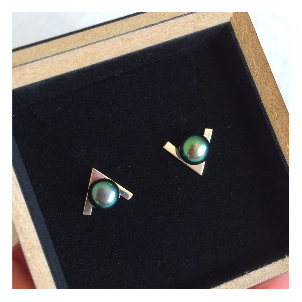 """V Shape"" Earrings with Green Pearls"