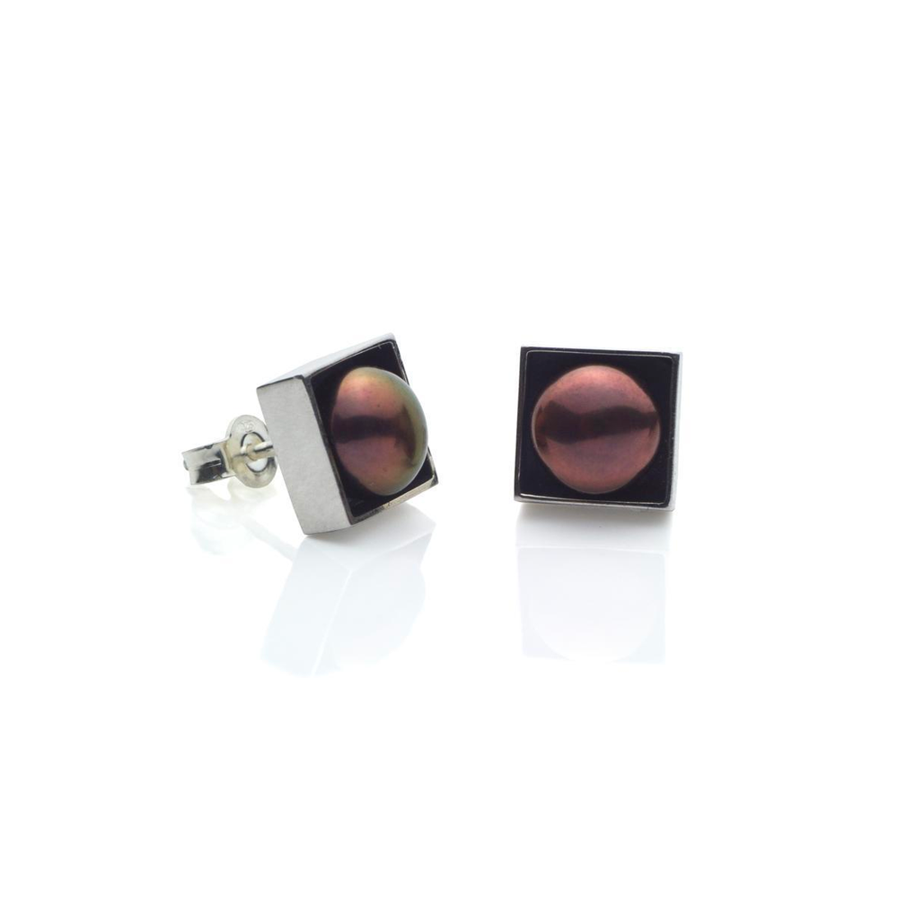 Silver Box Earrings with Brown Pearls