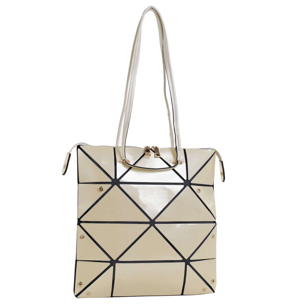 Isabelle Geometric Simple Tote with Zipper Top Closure (87650 BGM)