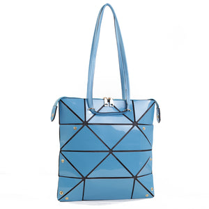 Isabelle Geometric Simple Tote with Zipper Top Closure (87650 BLM)