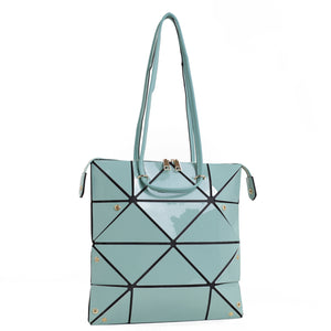 Isabelle Geometric Simple Tote with Zipper Top Closure (87650 MINT)