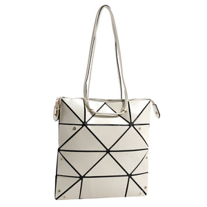 Isabelle Geometric Simple Tote with Zipper Top Closure (87650 OW)