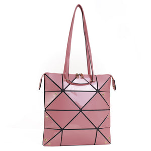 Isabelle Geometric Simple Tote with Zipper Top Closure (87650 PKM)