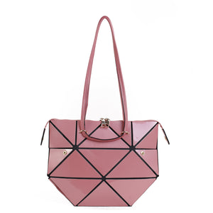 Isabelle Geometric Simple Tote with Zipper Top Closure (87650)