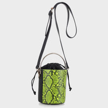 Load image into Gallery viewer, Neon Snake Skin Cylinder Bag