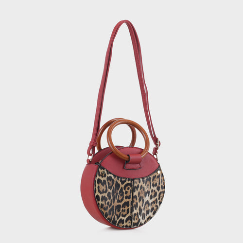Isabelle Leopard Canteen with Wooden Handles (LP19635 RD)