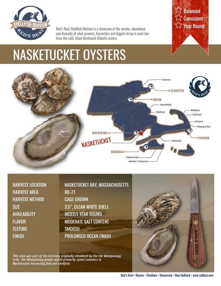 Fresh- Nasketucket, MA Oysters 20ct