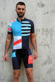 Colour block bib shorts