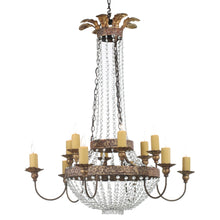 Load image into Gallery viewer, Iron & Crystal Chandelier