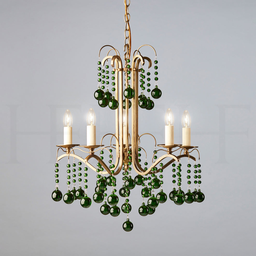Sophie Chandelier, 5 light, Emerald