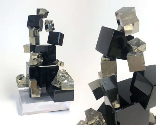Obsidian and Pyrite sculpture