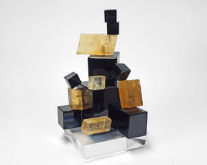 Obsidian and Calcite sculpture