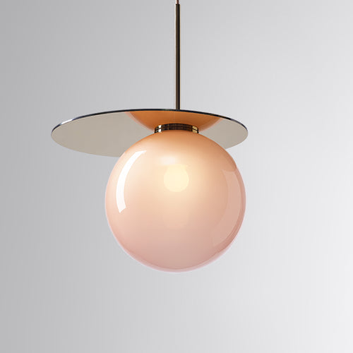 Umbra Pendant Pink, Gold Disc
