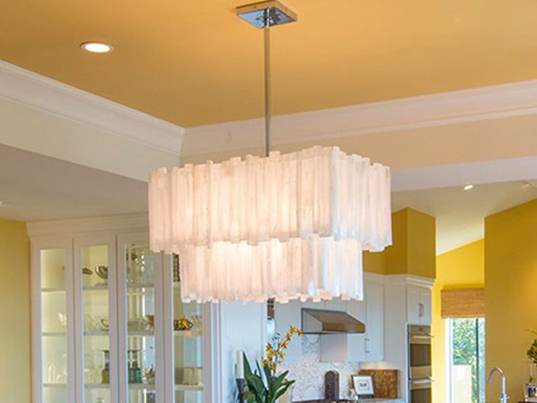Selenite-2 tier rectangle chandelier