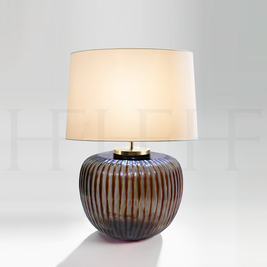 Pinara Round Table Lamp Indigo Brown