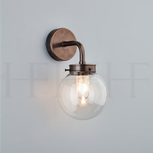 Hector Mini Globe Wall Light, Clear Glass