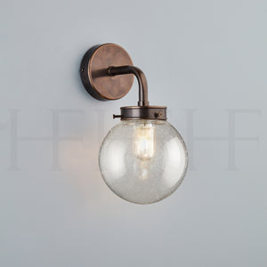 Hector Mini Globe Wall Light, Seeded Glass