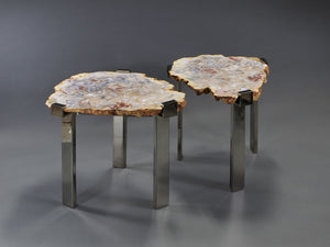 "Pair of Agate ""C"" Clamp Tables"