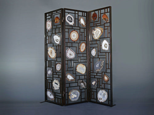 3 Panel Agate Slice Room Divider