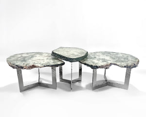 Nested Agate Tri Foil Trio Tables
