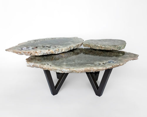 3 Tier Agate Table with Thick V Leg Base