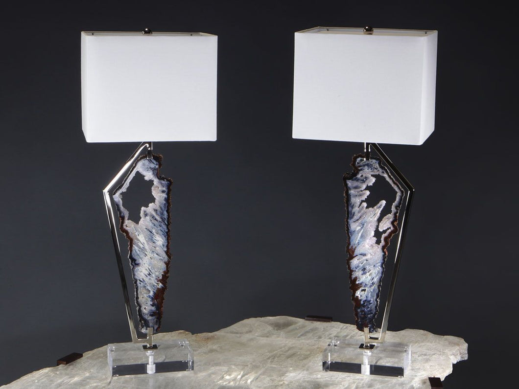 Agate and Amethyst Lamp Pair
