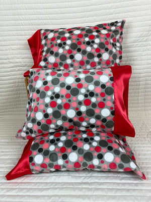 Bubble Dots Watermelon and Gray Minky Travel Size Pillowcase