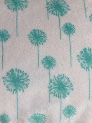Dandelions Teal on White Minky Travel Size Pillowcase
