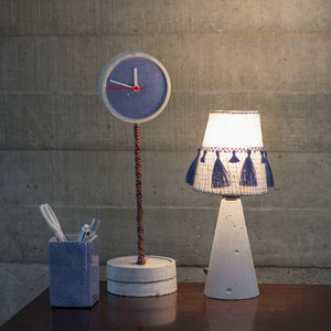 BLUE DOTTED STANDING TALL CLOCK