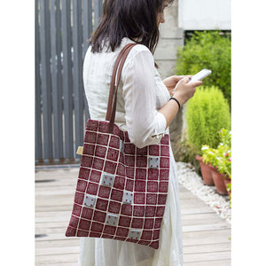 MAROON EMBROIDERED TOTE BAG