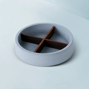 concrete mesa wooden cross round table tray grey