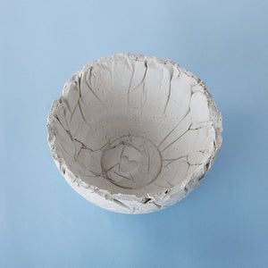 concrete crinkled indome handmade bowl grey