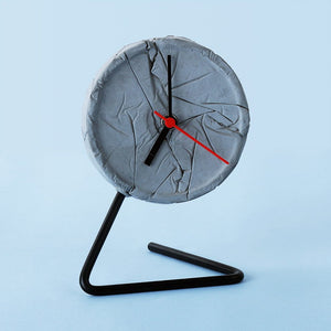 concrete crinkled twistick clock grey