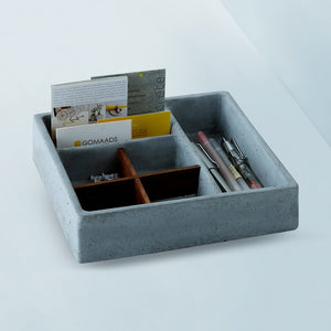 concrete handmade mesa stuco stationary tray grey