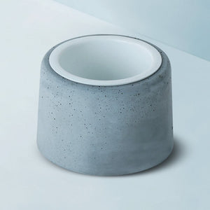 concrete planter white metal tumbler grey