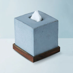 concrete tisco wooden base square wooden base tissue holder grey