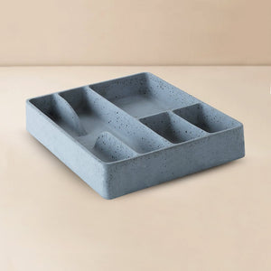 handmade concrete stuco stationary tray grey