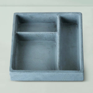 concrete stuco handmade organizer tray grey