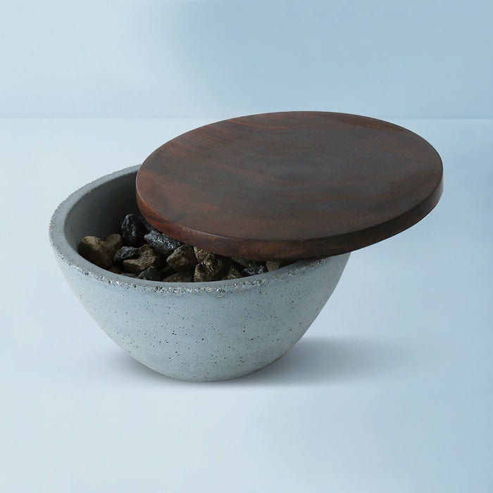Concrete Mesa Wooden Lid Bowl
