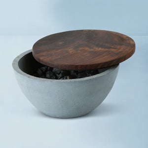 handmade mesa indome wooden concrete bowl grey