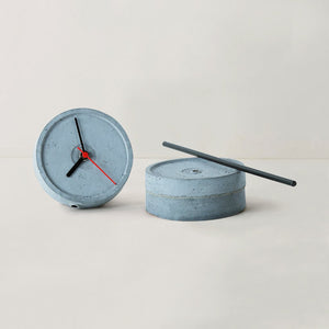 handmade standing small concrete black floor clock grey