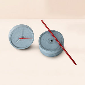 handmade standing small concrete red floor clock grey