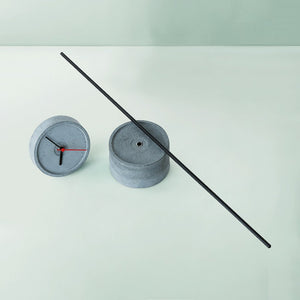 handmade standing tall concrete black floor clock grey