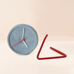 handmade twistick concrete red table clock grey